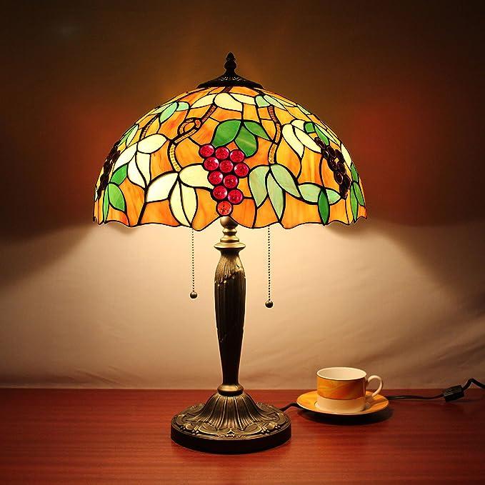 Europea Tiffany Lámpara de mesa de 16 pulgadas uvas vendimia ...