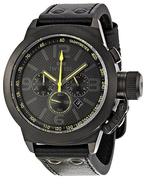 TW Steel TW900 - Reloj cronógrafo de cuarzo unisex con correa de piel, color negro: Amazon.es: Relojes