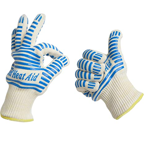 #1 Grill Gloves Withstand Heat up to 662°F - Premium Barbecue & Oven Heat Resistant Gloves - Set of 2 Kitchen Gloves Insulated By Aramid with 100% Cotton Lining Provides Super Comfort for BBQ - Five Fingers Heatproof Oven Gloves Set - Use As Oven Mitt, Po