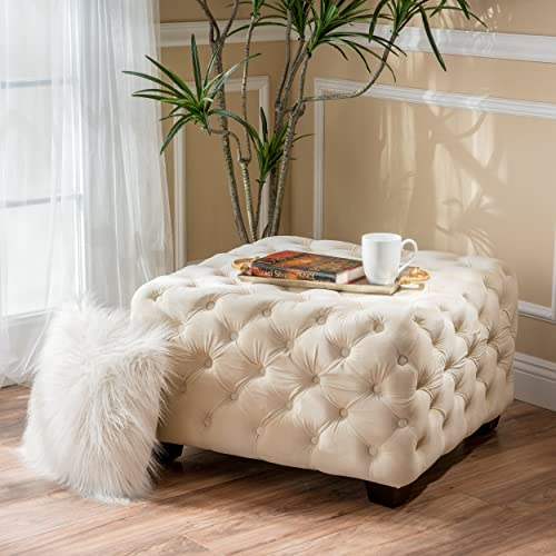 Christopher Knight Home Jaymee Velvet Ottoman, Ivory
