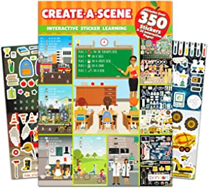 Create a Scene Sticker Learning Activity Book for Kids Toddlers ~ Career Sticker Book with Over 350 Educational Stickers and 32 Interactive Pages