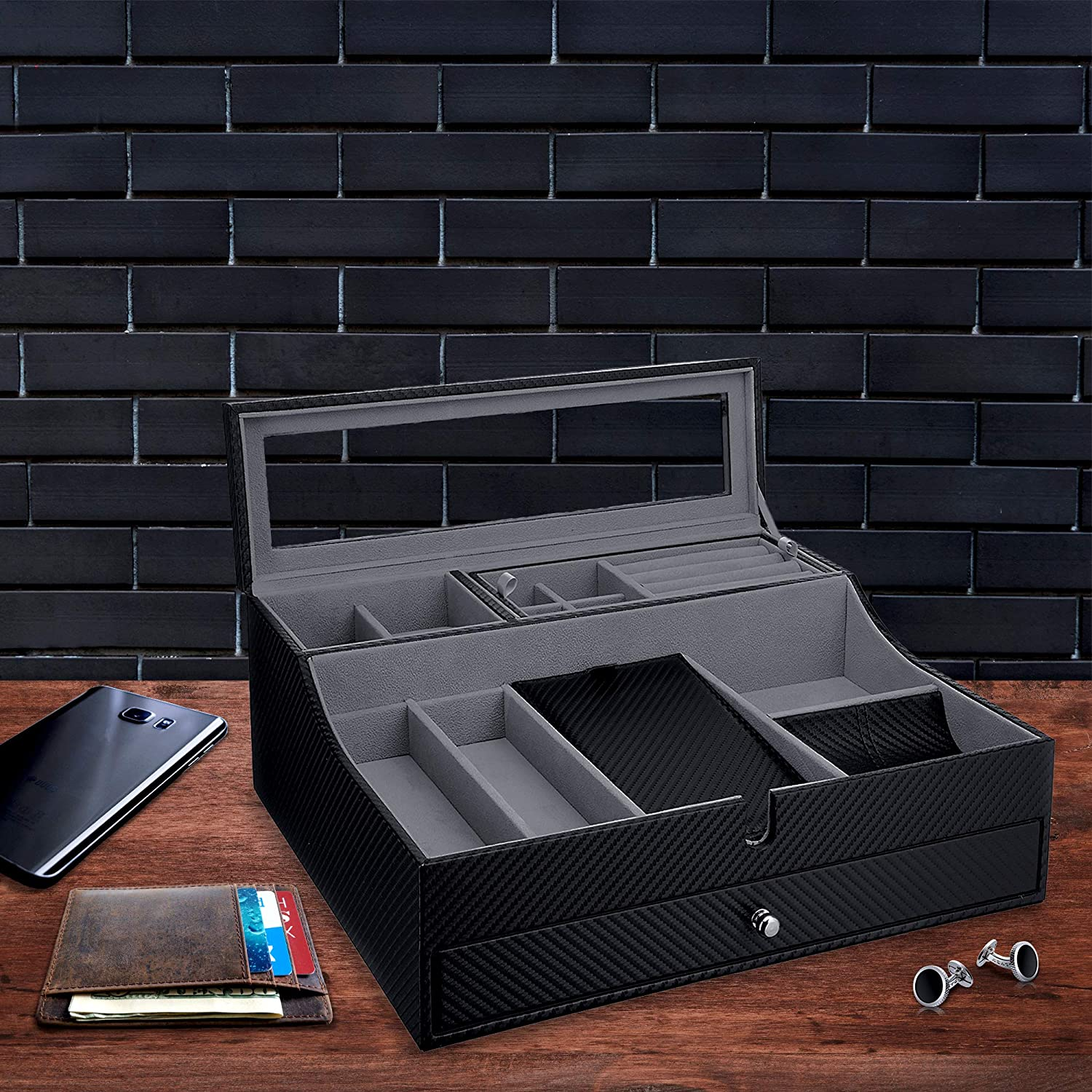 Valet Tray for Men| Sleek Dresser-Organizer Box for Storage & Display| Perfect for Phone, Watches, Sunglasses, Jewelry, Wallet, Rings, Necklace & More| Carbon Fiber & Faux Leather: Home Improvement