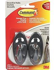 Command Terrace Hooks, Medium, Slate, 2 Hooks 4 Medium Strips