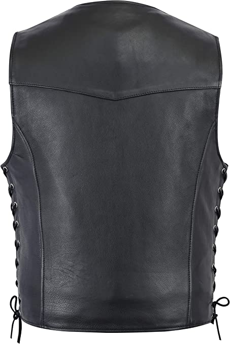 Milwaukee Leather LKM3700 Mens Plain Side Leather Vest with Buffalo Snaps X-Large