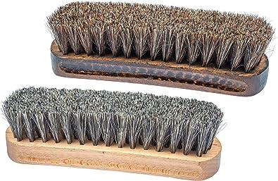 Shoe Brush Set 2PCS Horsehair Bristles Shoes Shine Polish Brushes Soft Shoe Brush Shoe Care Applicator Brush for Boots Car Seats Sofas Shoes