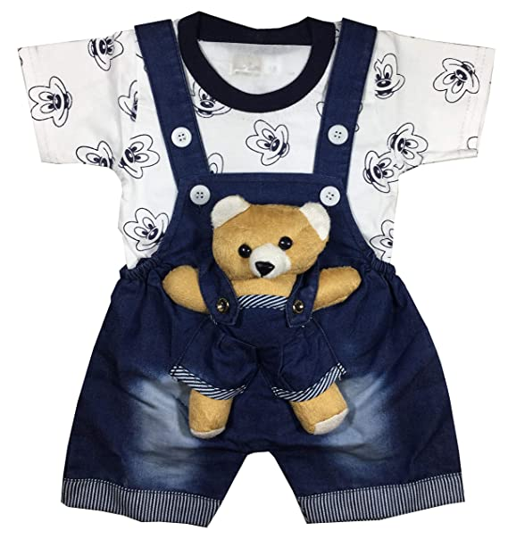 4359d7288 Unisex Baby Boys Girls Dungaree Dress Set with T-Shirt and Ankle ...