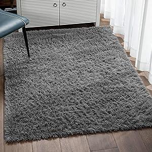 Veken Fluffy Shag Area Rugs for Living Room Bedroom Home Decor Nursery, Machine Washable Indoor Carpets for Girls Boys Kids Room 4x5.3 Feet, Grey