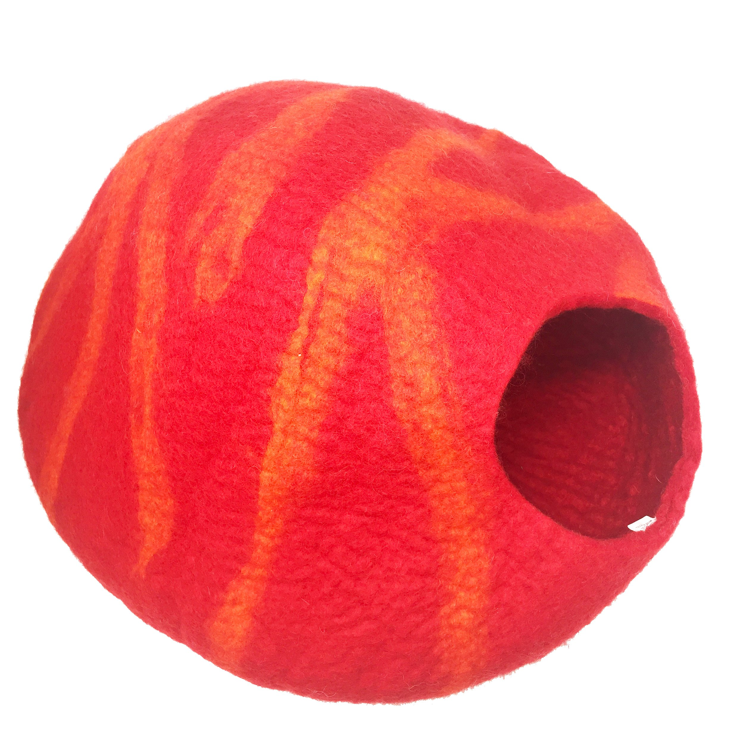 Juccini Handcrafted Felted Wool Cat Cave Bed for Cat and Kittens – Felted from 100% Natural Wool
