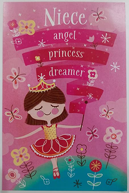 Happy Birthday Niece Greeting Card Angel Princess Dreamer Sweetie Pink