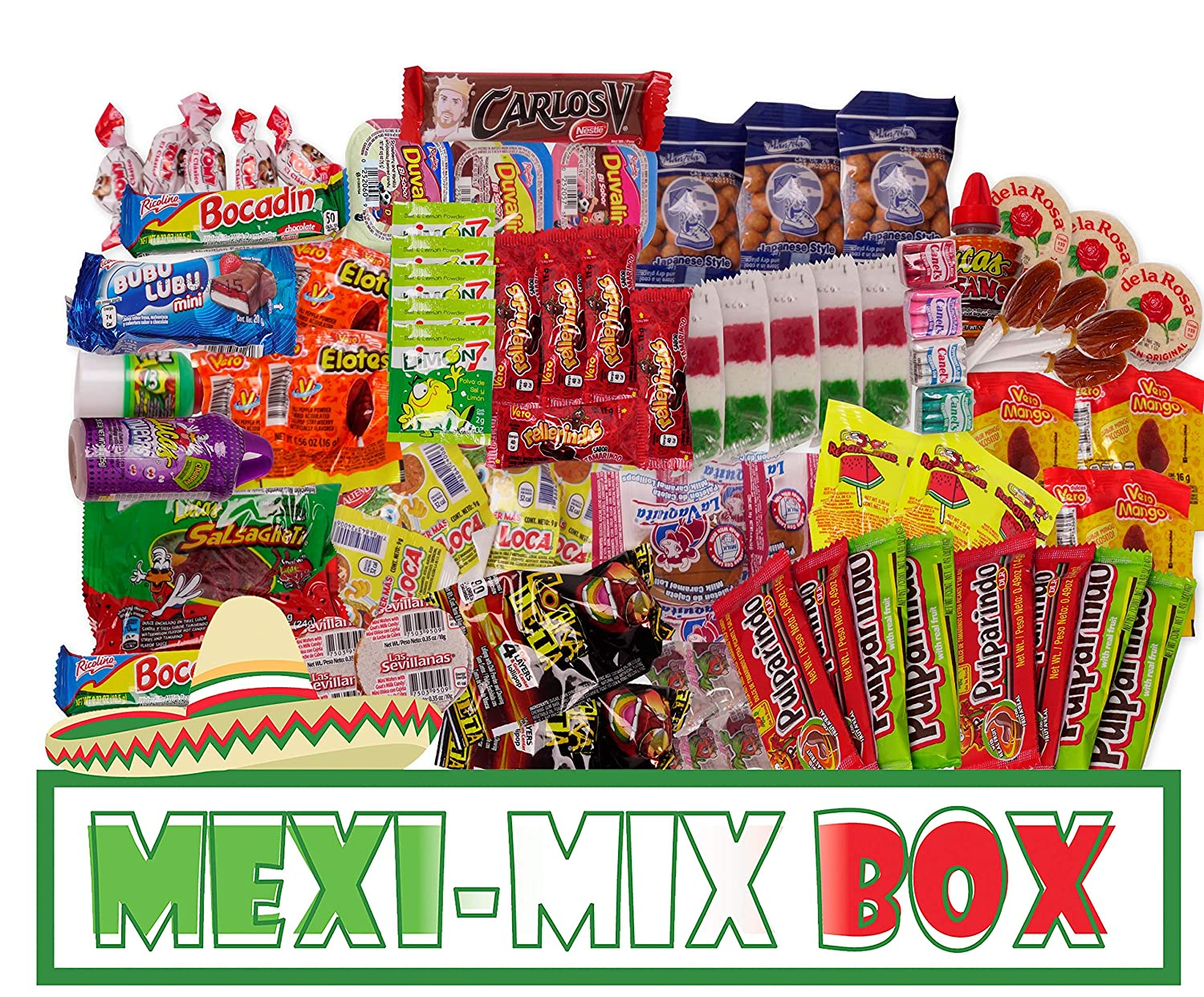 Mexi-Mix Box Mexican Candy Assortment. 86 count. Candy Care Package Variety of Spicy Candy Box Gift Bulk Dulces Mexicanos Snack Include: Obleas Duvalin Lucas Vero Mango Pulparindo Pelon Pelo Rico