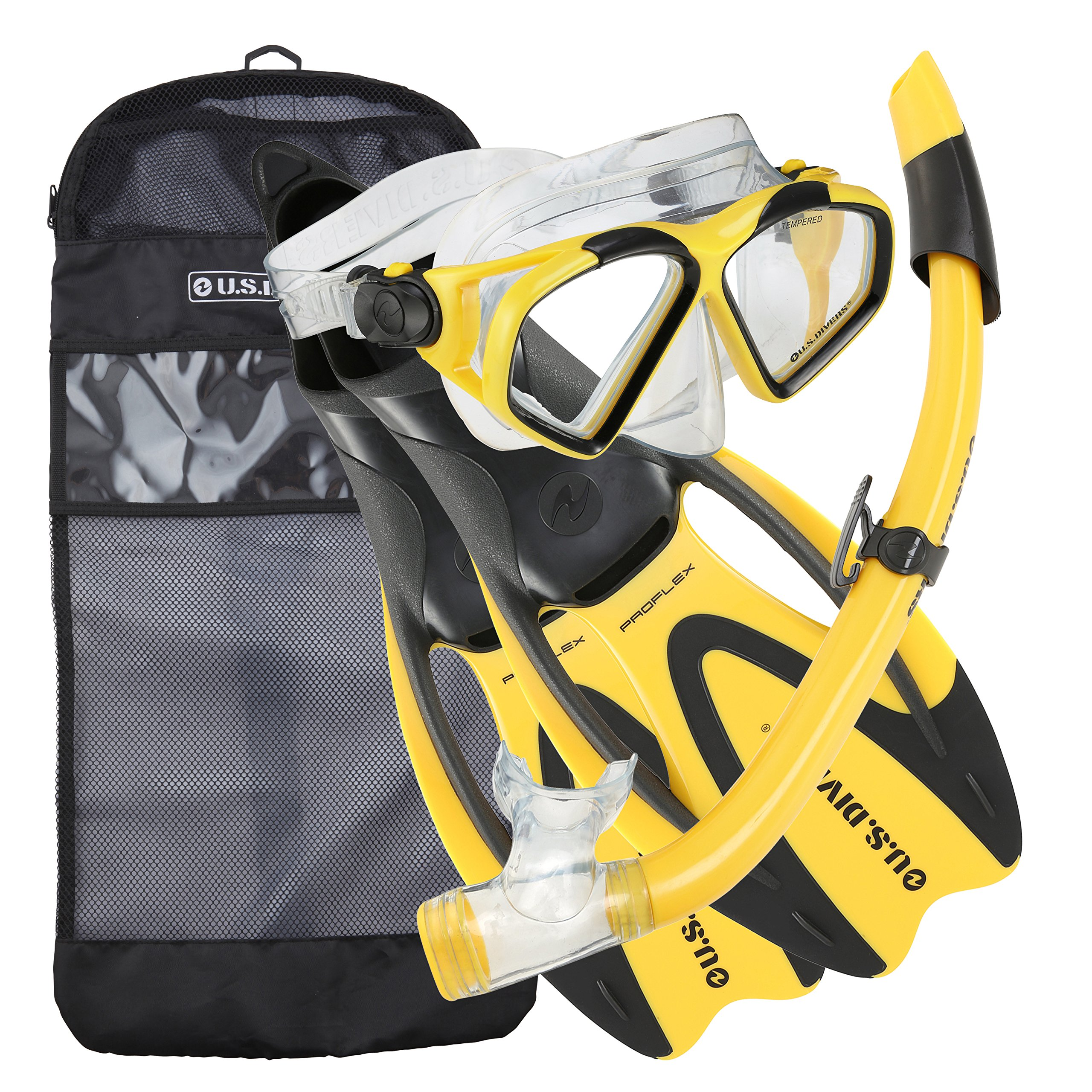 U.S. Divers Adult Cozumel Mask/Seabreeze II Snorkel/Proflex Fins/Gearbag, Medium, Yellow by U.S. Divers