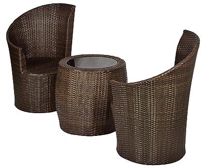 Furnifuture Moon Outdoor Patio Furniture Set 2 1 Brown Amazon