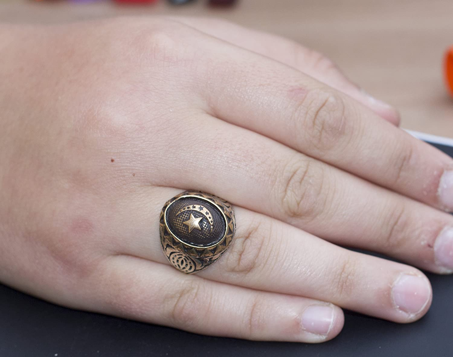 Free Express Shipping Moon and Star İslamic Ring Falcon Jewelry 925 Sterling Silver Men Ring