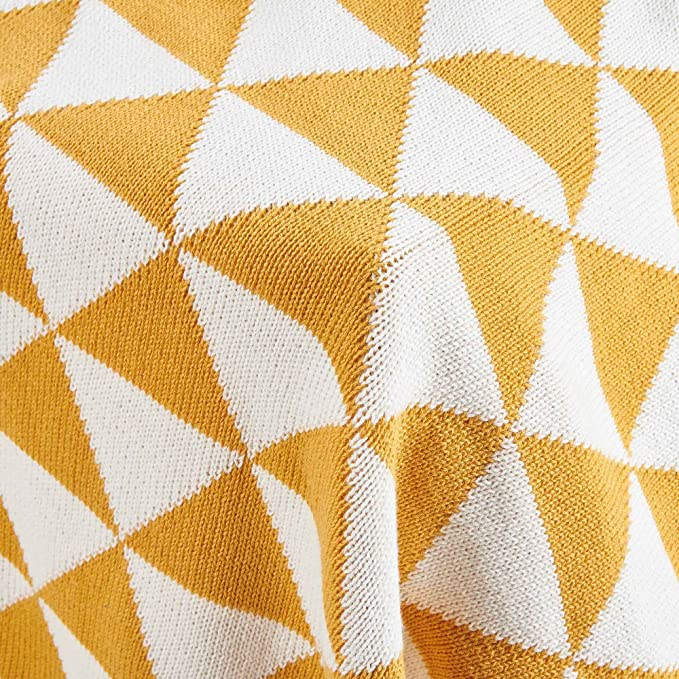 Qucover Modern Warm Knitted Throw Bed Blanket Throw Comforter Cotton Thread/for Sofa Living Room Bedroom Yellow 51x63 Inch