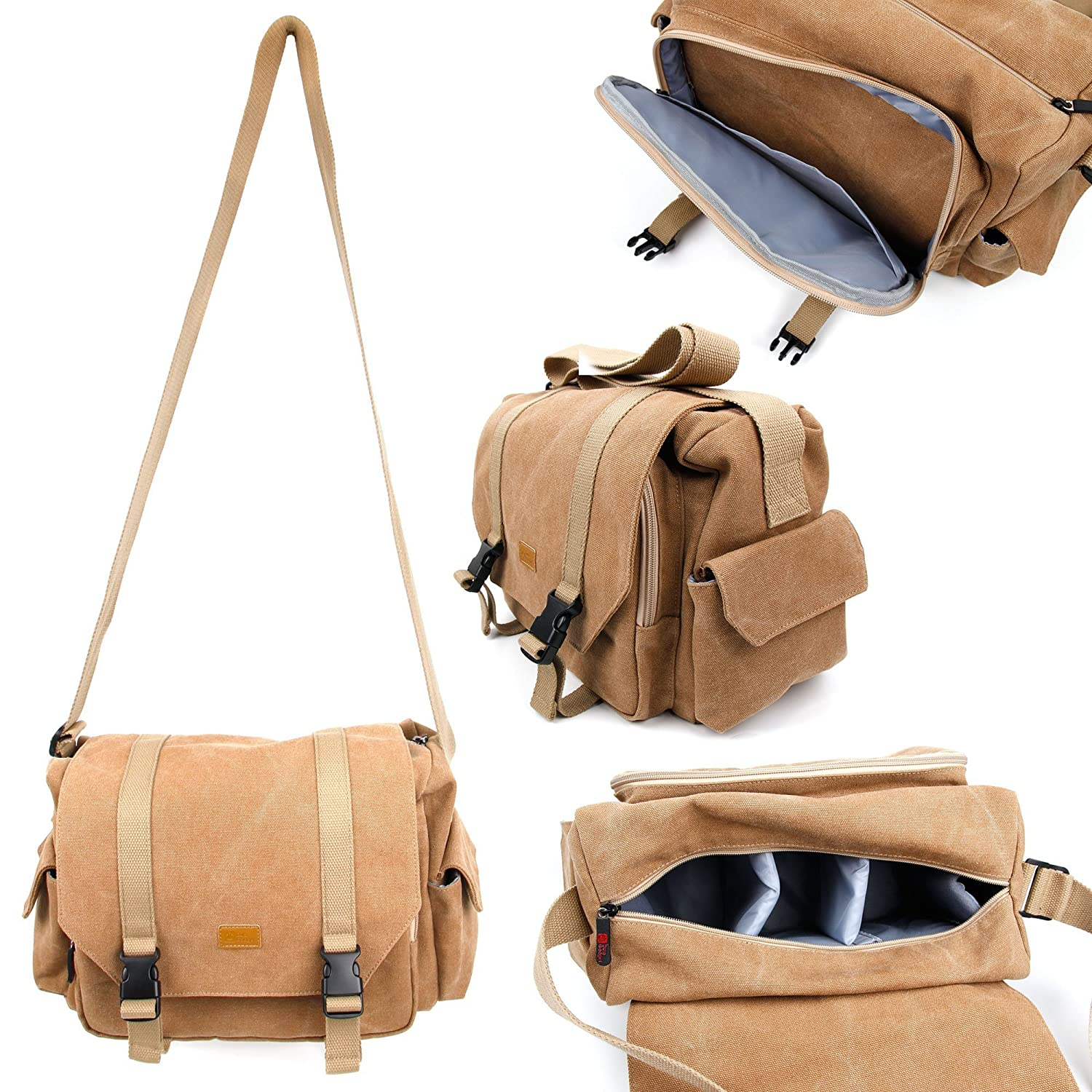 Amazon.com: Tan-Brown Large Sized Canvas Carry Bag With Multiple ...