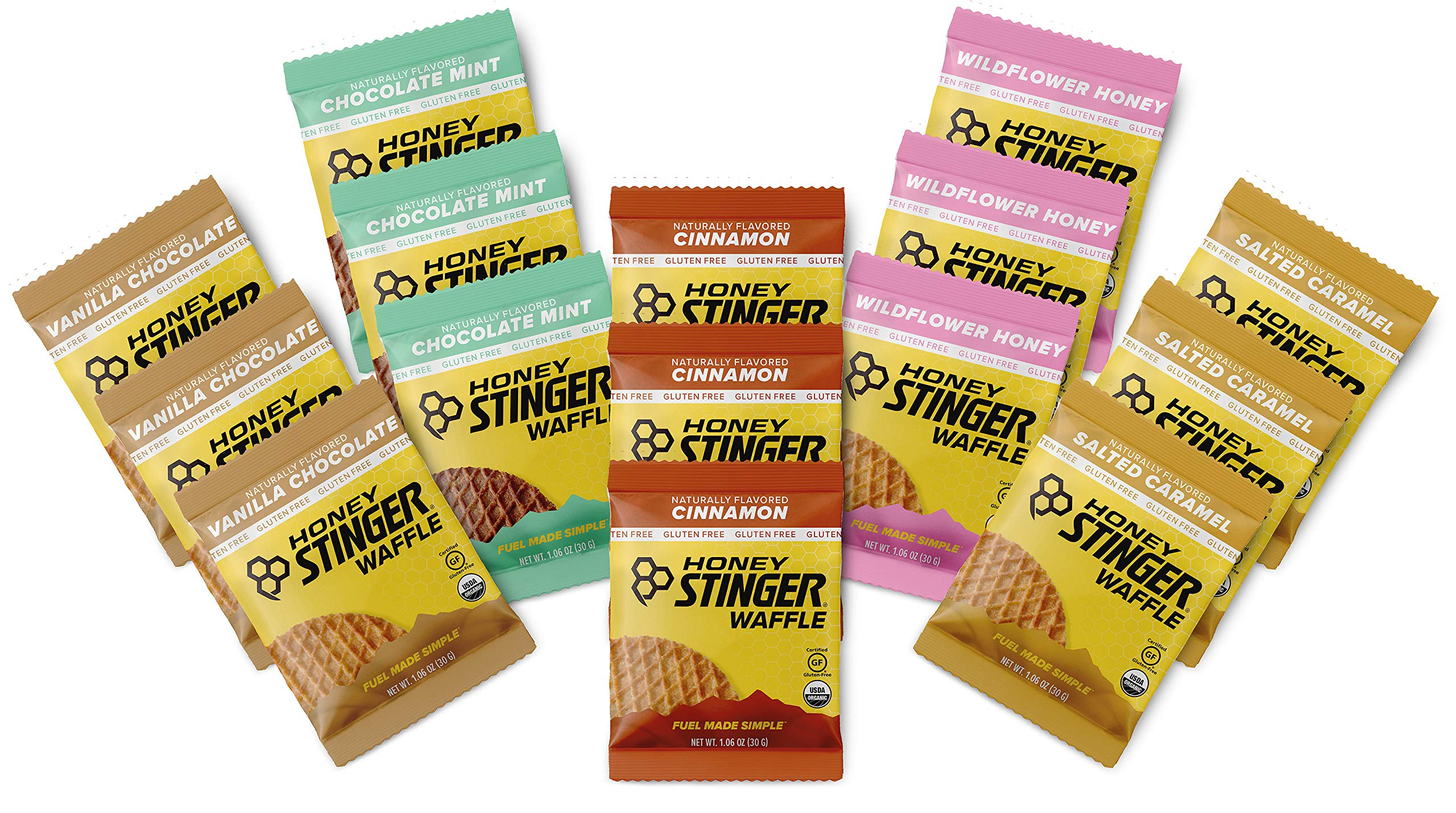 Honey Stinger Gluten Free Organic Waffles - Variety Pack - 15 Count - 3 of Each Flavor - Energy Source for Any Activity-Vanilla & Chocolate, Wildflower Honey, Chocolate Mint, Salted Caramel & Cinnamon by Honey Stinger