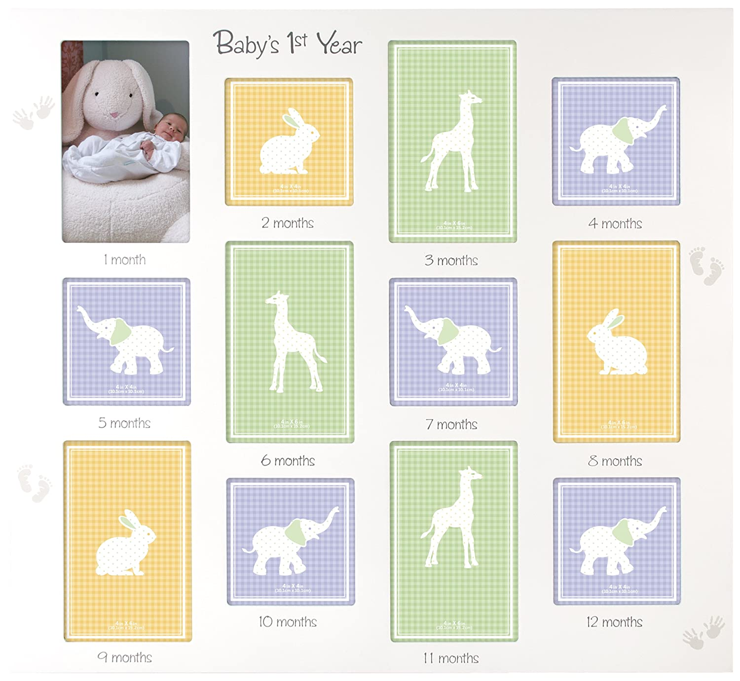 Amazon malden international designs babys 1st year wall amazon malden international designs babys 1st year wall collage picture frame 12 option 6 4x6 6 4x4 white baby jeuxipadfo Images