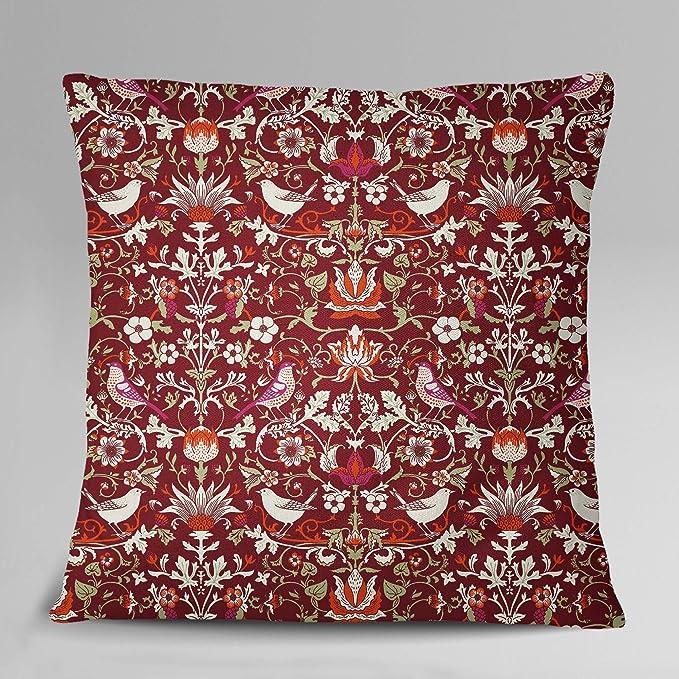 S4Sassy Decorative Cushion Cover Maroon 2 Pcs Cotton Poplin Floral-GT7
