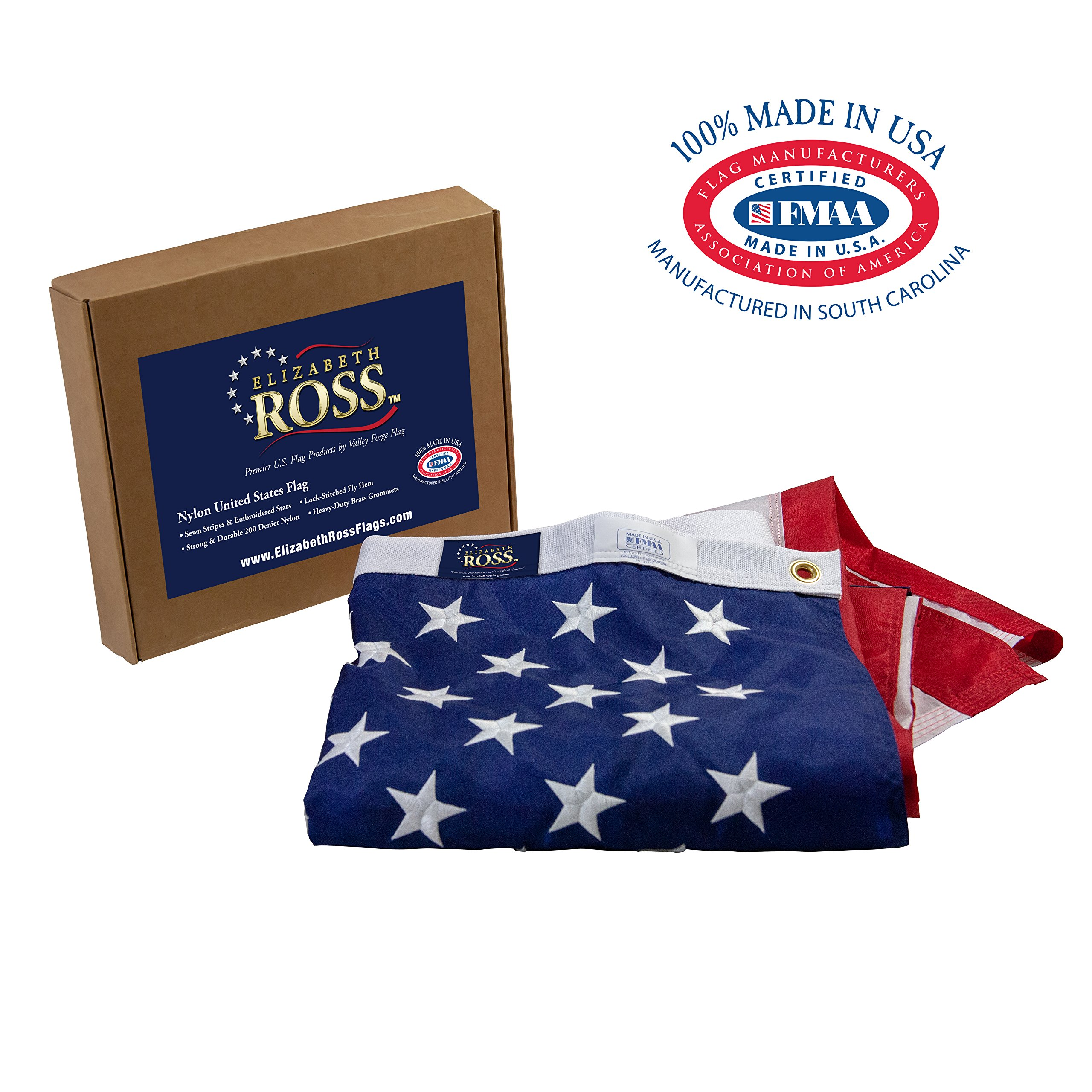 Elizabeth Ross American Flag, Nylon, Perma-NYL, 5'x8' 100% Made in USA, Sewn Stripes, Embroidered Stars, Heavy-Duty Brass Grommet, Premier US Products by Valley Forge Flag by Valley Forge