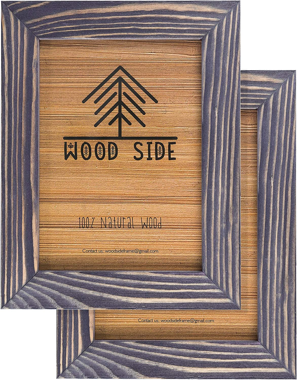 Rustic Wooden Picture Frame 5x7 Inch - Set of 2-100% Natural Eco Distressed Wood and Real Glass - Made for Wall and Table Top Display - Old Dark Grey