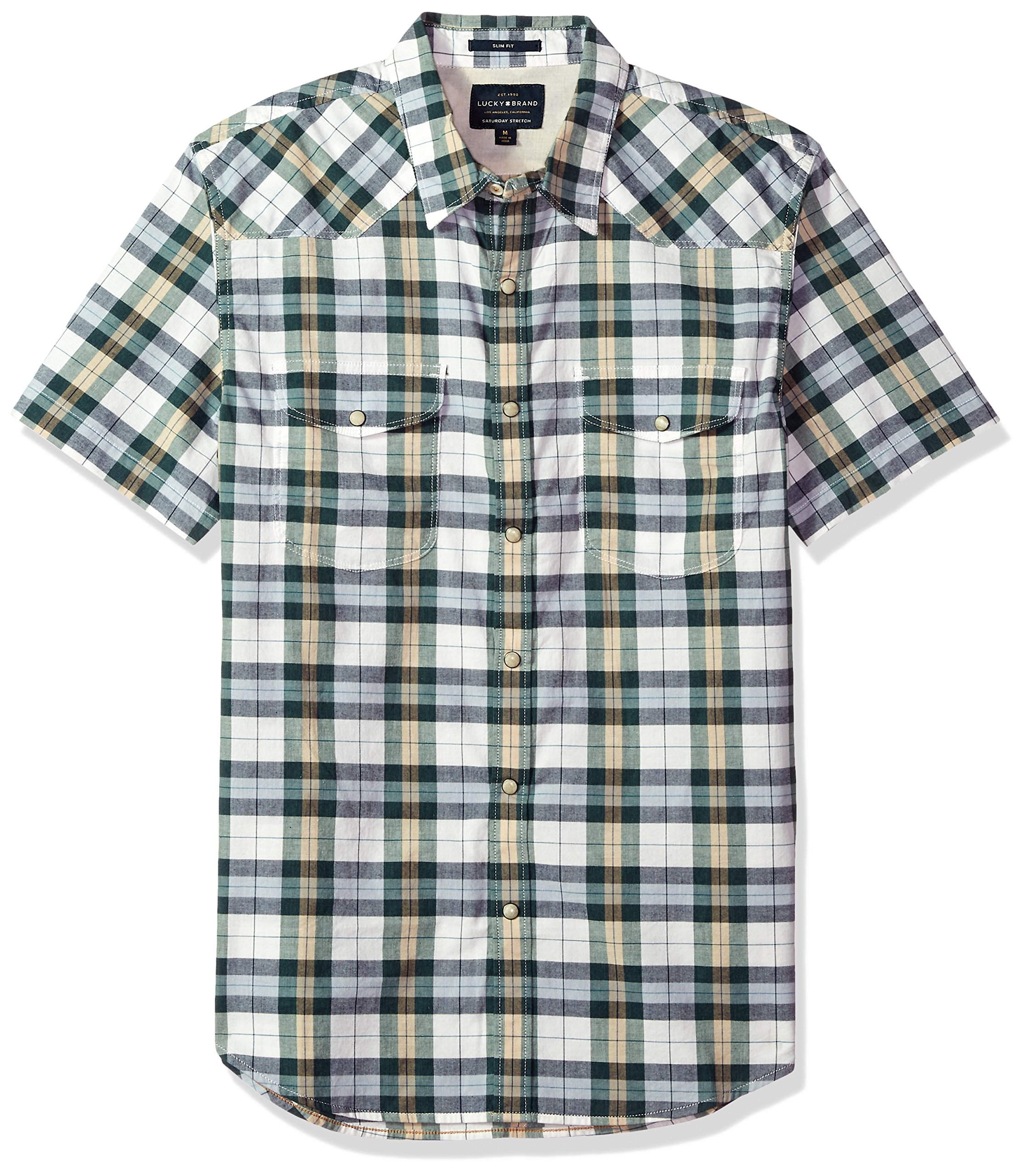 Lucky Brand Men's Short Sleeve Plaid Western Button Down Shirt in Green Multi, Natural/Green, L