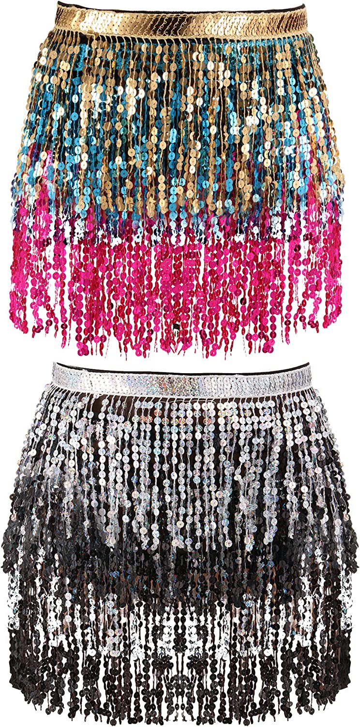 2 Pieces Sequin Tassel Skirt Belly Dance Hip Scarf Performance Outfit Sequins Skirt Belts Body Accessories for Women Girls