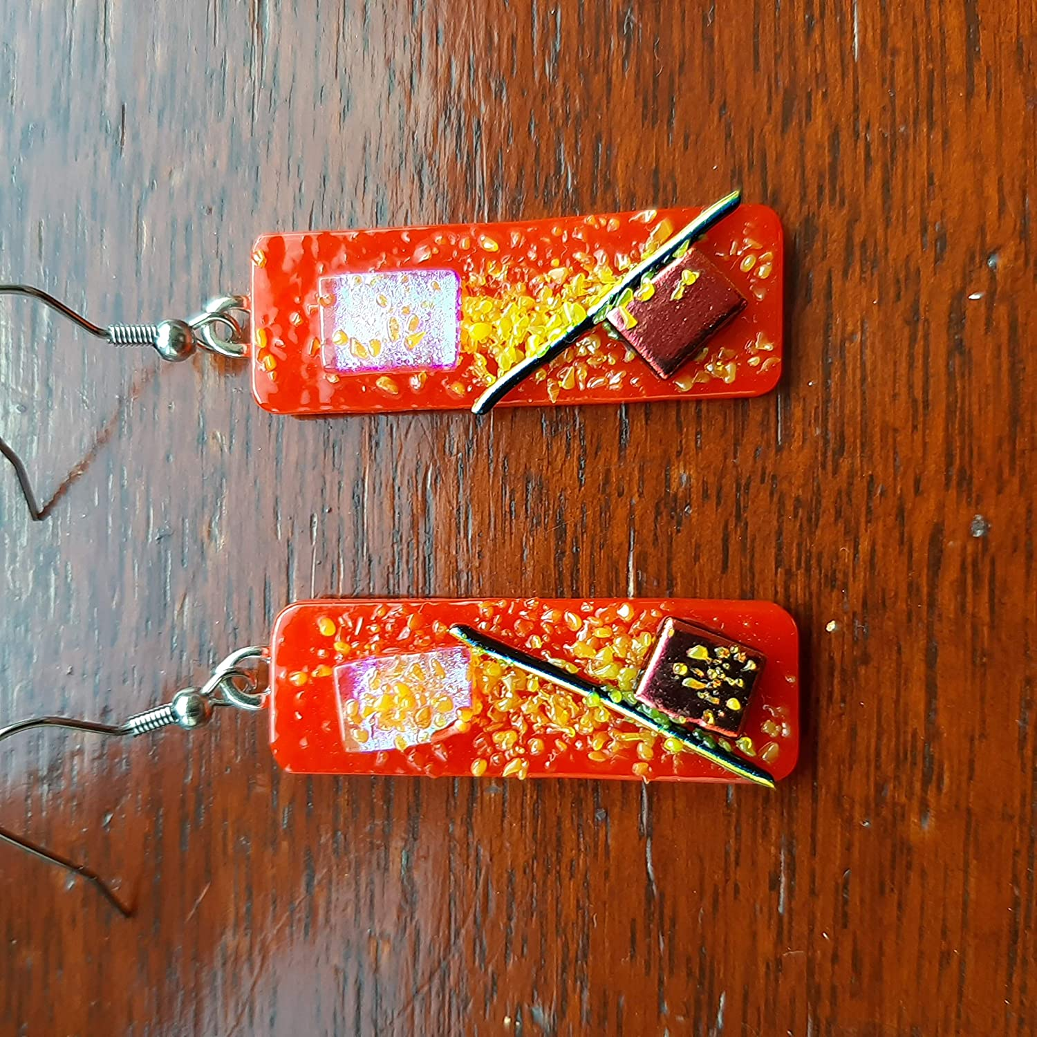Chinese colours fused glass dichroic dangle earrings