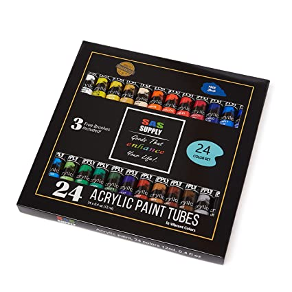 SAS Supply Acrylic Painting Set 24 Rich, Vibrant Colors for Beginners,  Students & Professional Artists  Paint on Canvas, Paper, Wood, Ceramics &  More