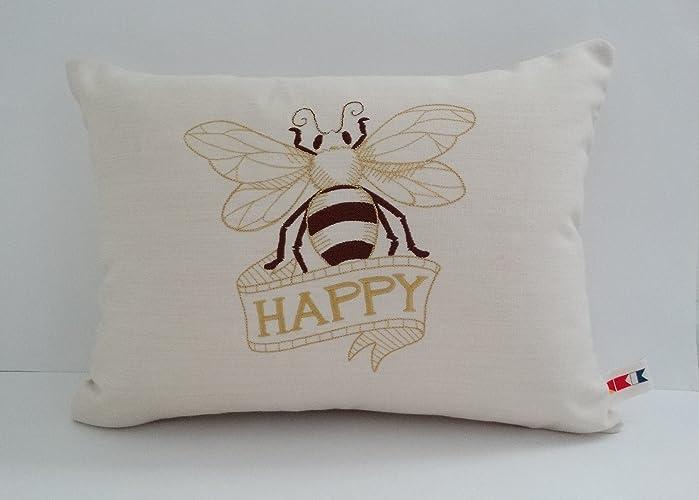 Amazon Com Sunbrella Canvas Vellum Embroidered Bee Happy Indoor