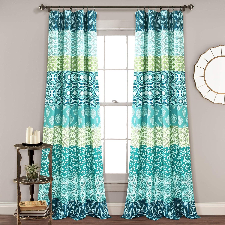 "Lush Décor, Blue and Green Lush Decor Bohemian Stripe Window Curtain Colorful Bold Design Panel Pair, 84"" x 52"", 84"" long x 52"" wide"