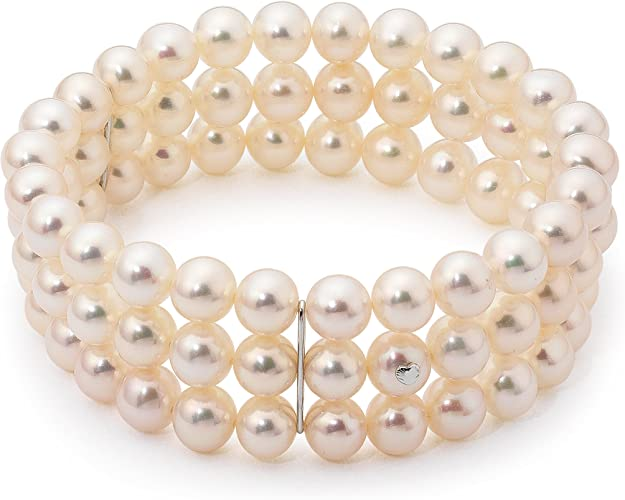 Pulsera de oro blanco de 14 quilates con perla