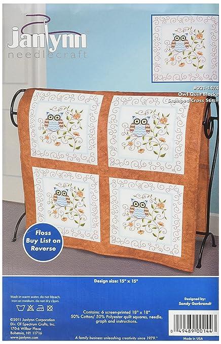 Amazon Janlynn Stamped Cross Stitch Quilt Block Owl