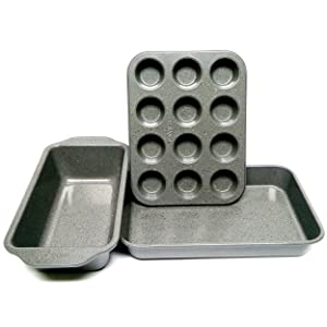 casaWare Toaster Oven 3pc Set (Baking, Loaf and Mini Muffin Pan 12 Cup) (Silver Granite)
