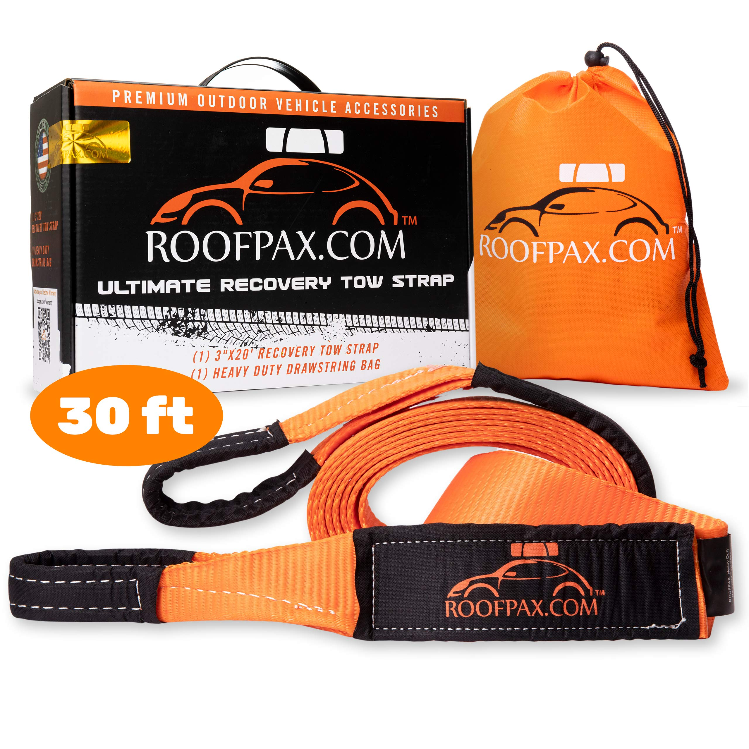 RoofPax Tow Strap 3'' x 30 ft. Off Road Recovery Rope | 30,180 lb Break Strength Capacity | Heavy Duty Winch Strap with Triple Reinforced End Loops | Essential Recovery Kit for Getting Off-Road by RoofPax