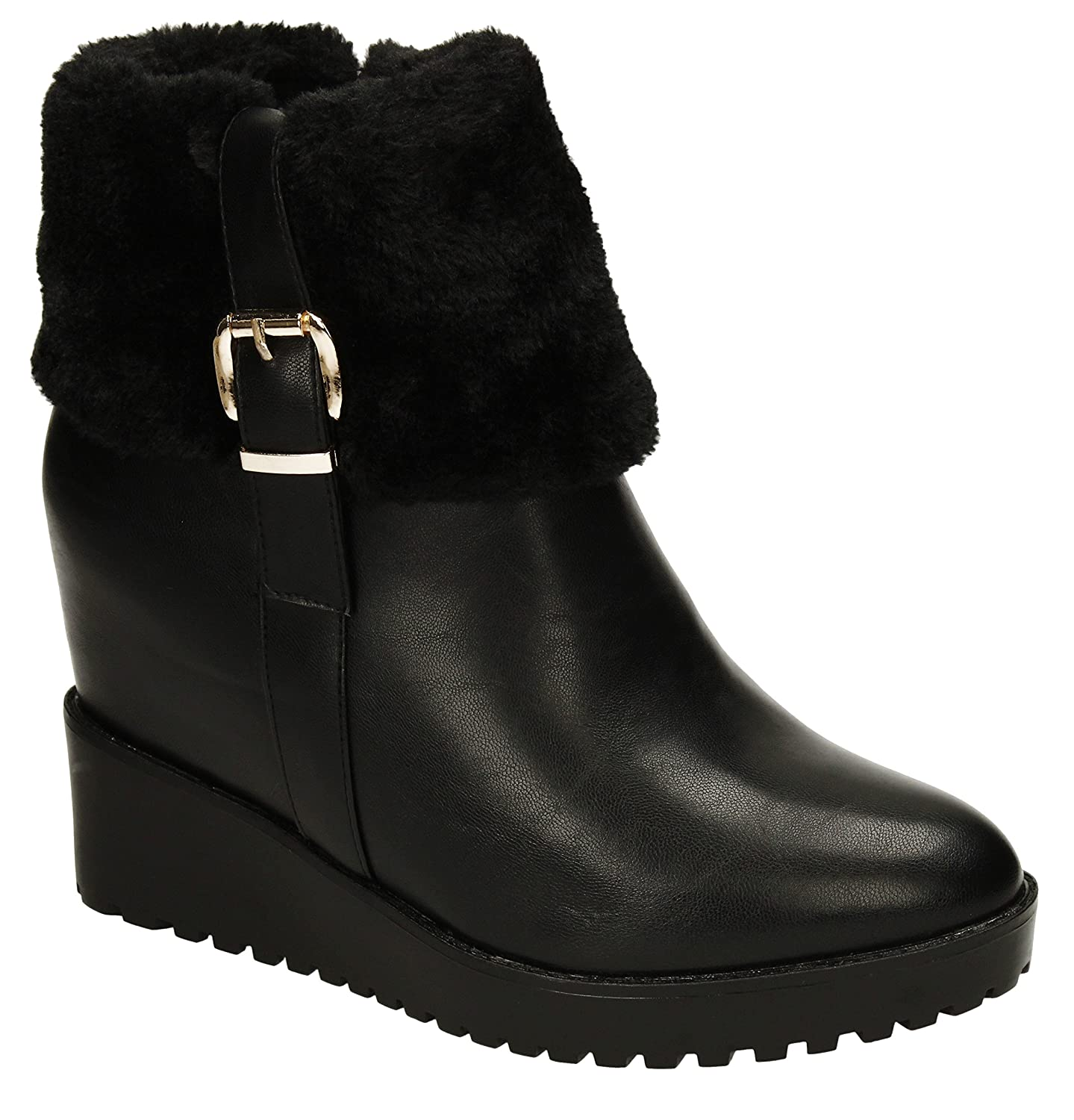 Becky Womens Black Wedge Boots Collar Fur Lined Winter Warm Ladies ...