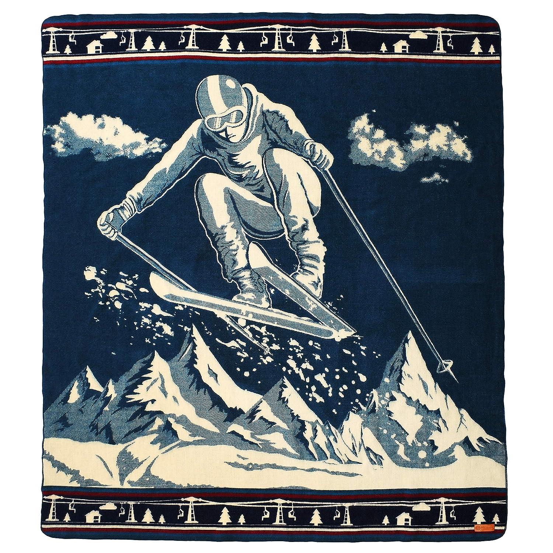 Ski Jumper Ecuadane Large Winter Woven Blanket, Handmade in Ecuador by Local Artisans, Size 82  x 93  - colorado Ski bluee Pattern