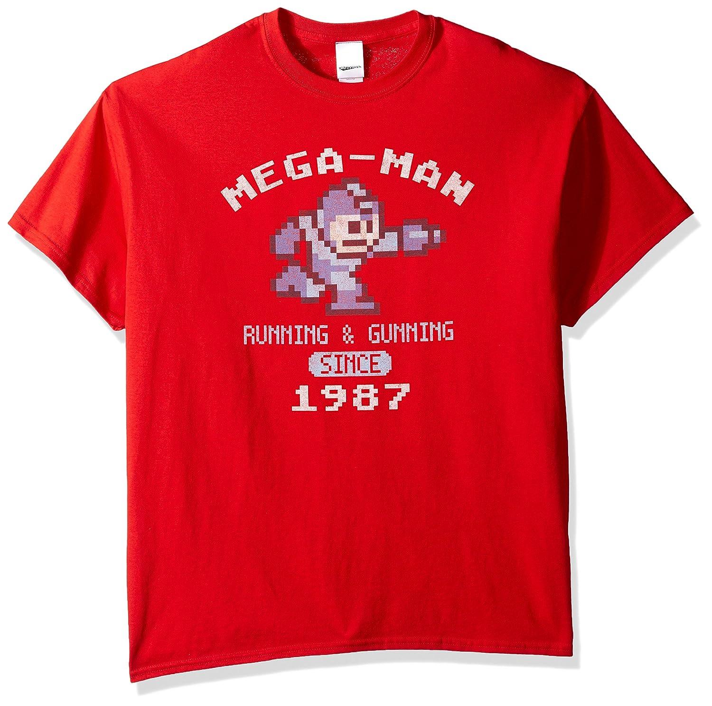 Men's Mega Man Running and Gunning Since 1987 Vintage T-Shirt Freeze Young Men's MDSN065-18