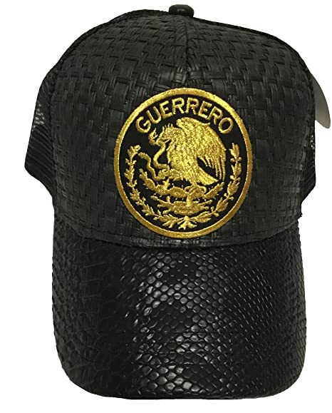 Guerrero Logo Federal hat Gorra De Palma Visera De Piel Mesh Snapback at Amazon Mens Clothing store: