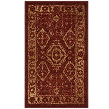 Maples Rugs Kitchen Rug - Georgina 1\'8 x 2\'10 Non Skid Small Accent Throw  Rugs [Made in USA] for Entryway and Bedroom, Red/Gold