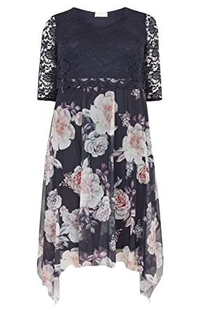 3e2cad0034d Yours Clothing Women s Plus Size London Floral Dress Lace Overlay Size 22  Navy