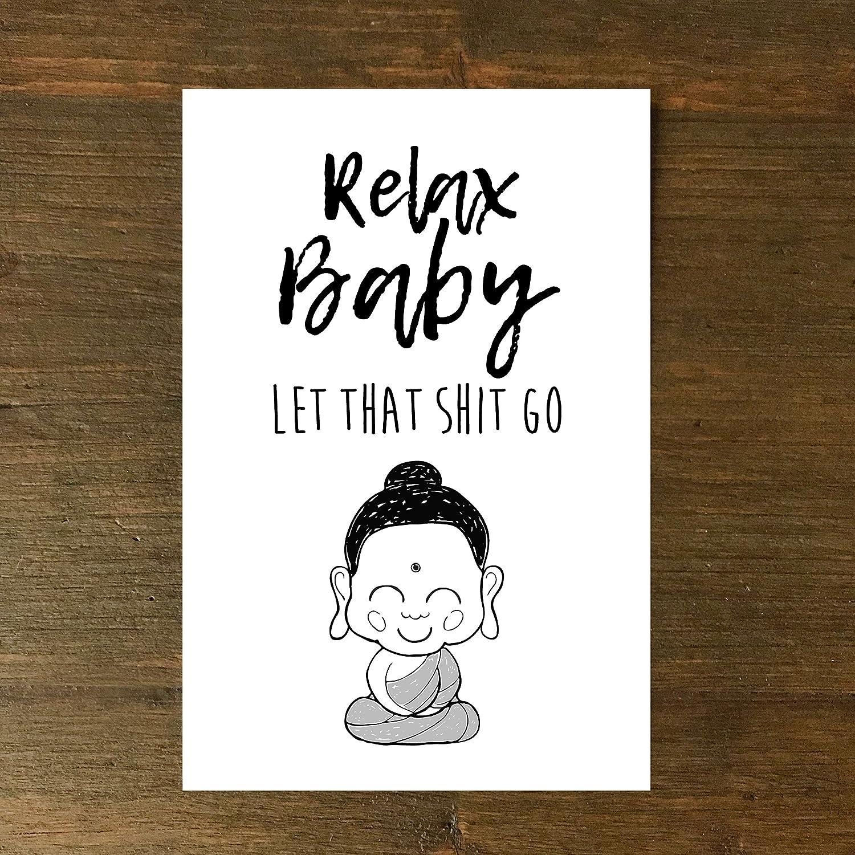 Buddha,Relax Baby Geburtstag handgezeichnet Gru/ßkarte Karte
