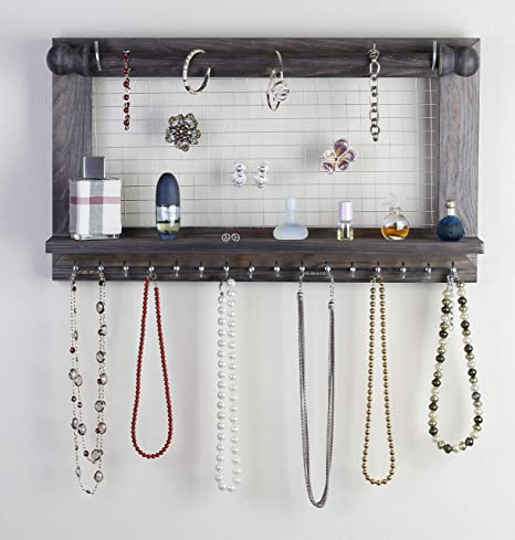 Wall Mounted Wooden Jewelry Display Organizer Hook Holder For Earrings Necklace