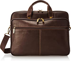 """Heritage Travelware Colombian Leather Dual Compartment Top Zip 16"""" Laptop Portfolio, Brown"""