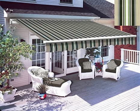 Garden Canopy Retractable Manual Awning Outdoor Shelter Patio Sun Shade Red-Whit