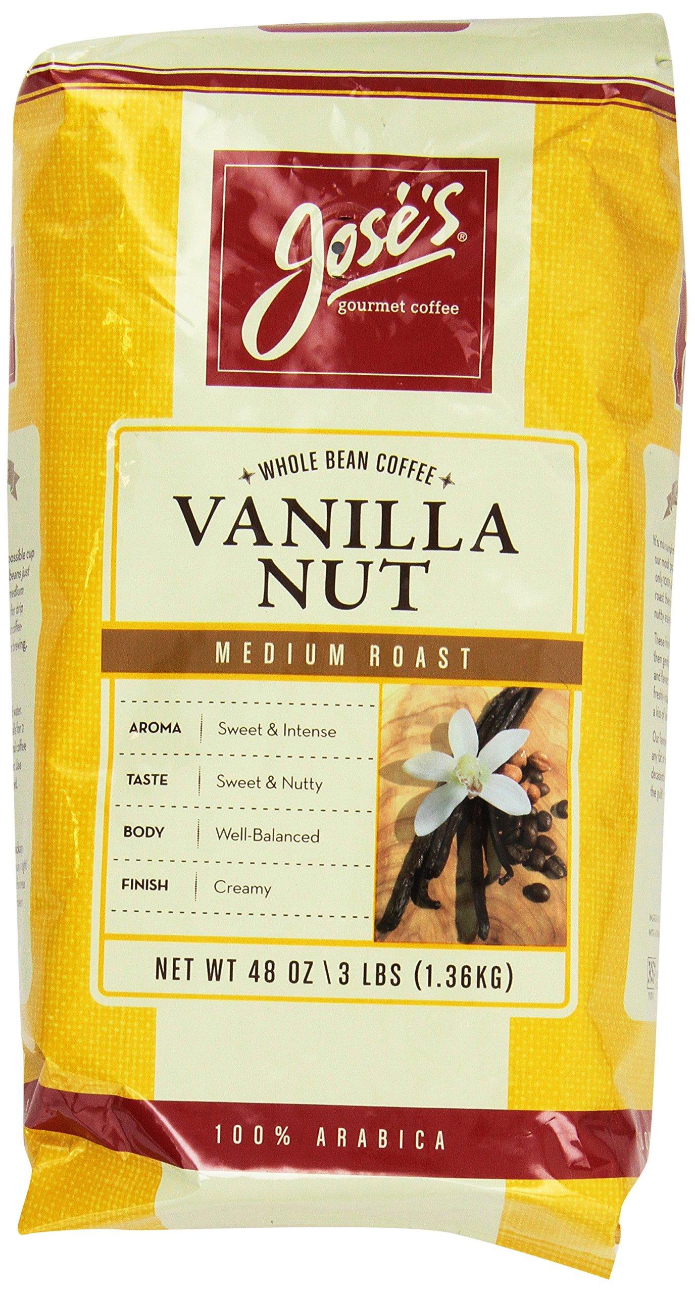 Jose's Whole Bean Coffee Vanilla Nut 3 Lbs