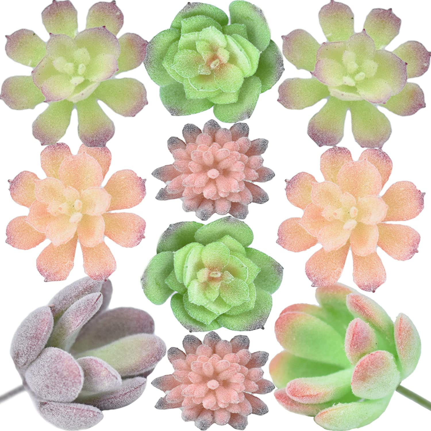 Seeko Mini Artificial Succulents - 10 Pack - Fairy Garden Accessories for Fairy Houses and Other Small Crafts (10)