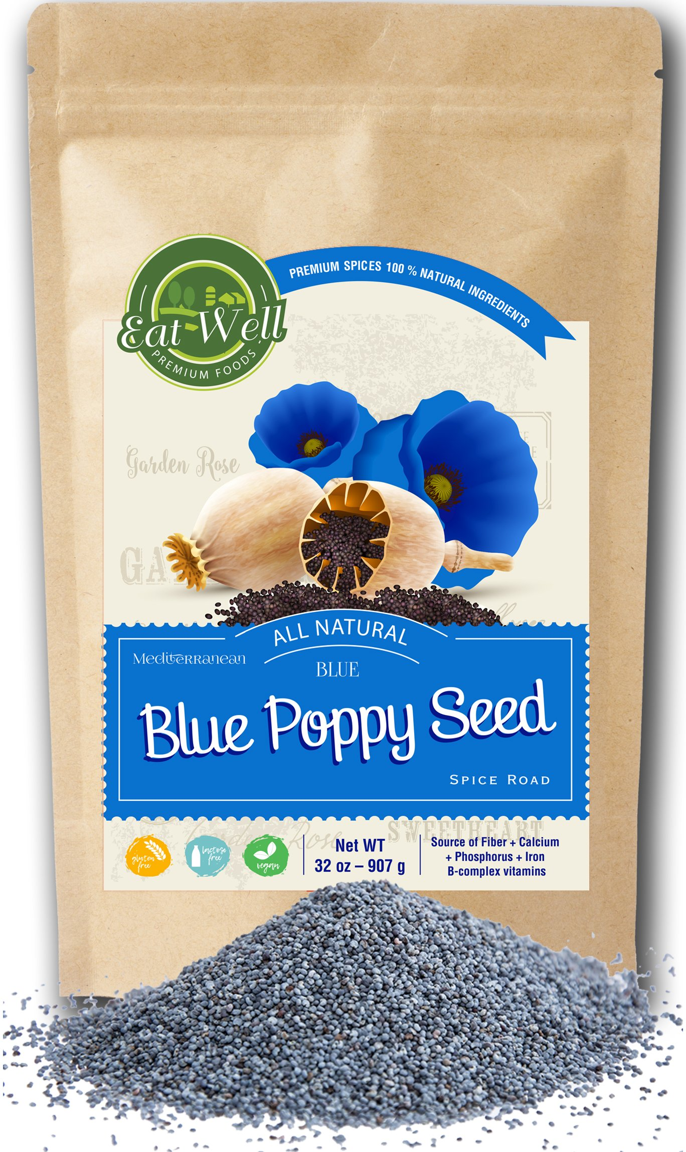 Whole Edible Poppy Seeds | Raw Poppy Seeds For Baking | 32oz (2 lbs) Reseable Bag, Bulk | Cake & Pastry Baking | 100% Natural | Herbs & Natural Spices | by Eat Well Premium Foods by EAT WELL PREMIUM FOODS