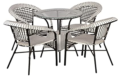 FurniFuture™ Whlack Outdoor Patio Furniture Set 4+1 - (White & Black)