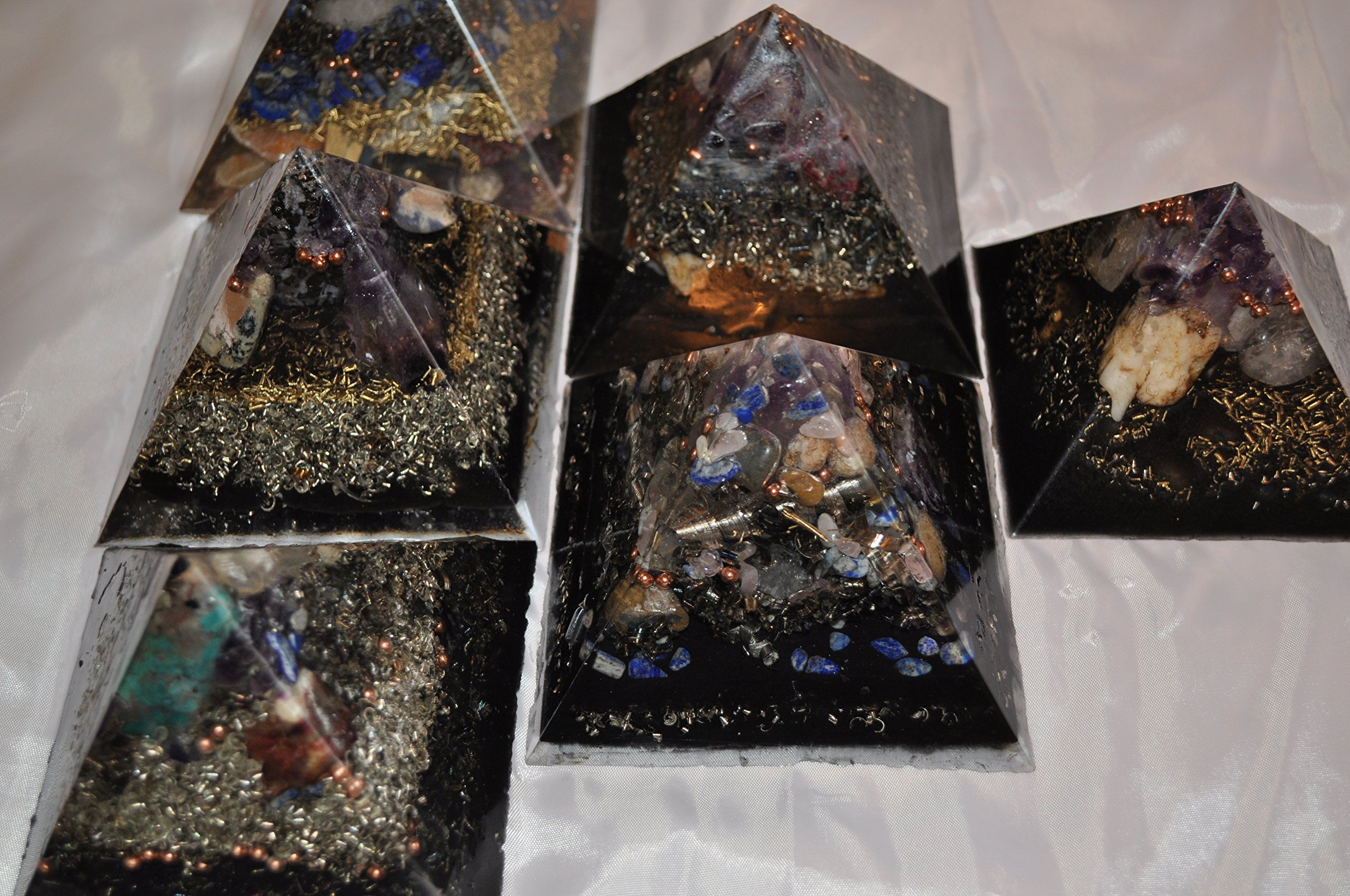 6 large multicolored aesthetic crystal Orgone energy pyramids for EMF protection headache relief collectibles home decoration improved sleep chakra balancing beautiful positive energy collectibles by KayJay Organite