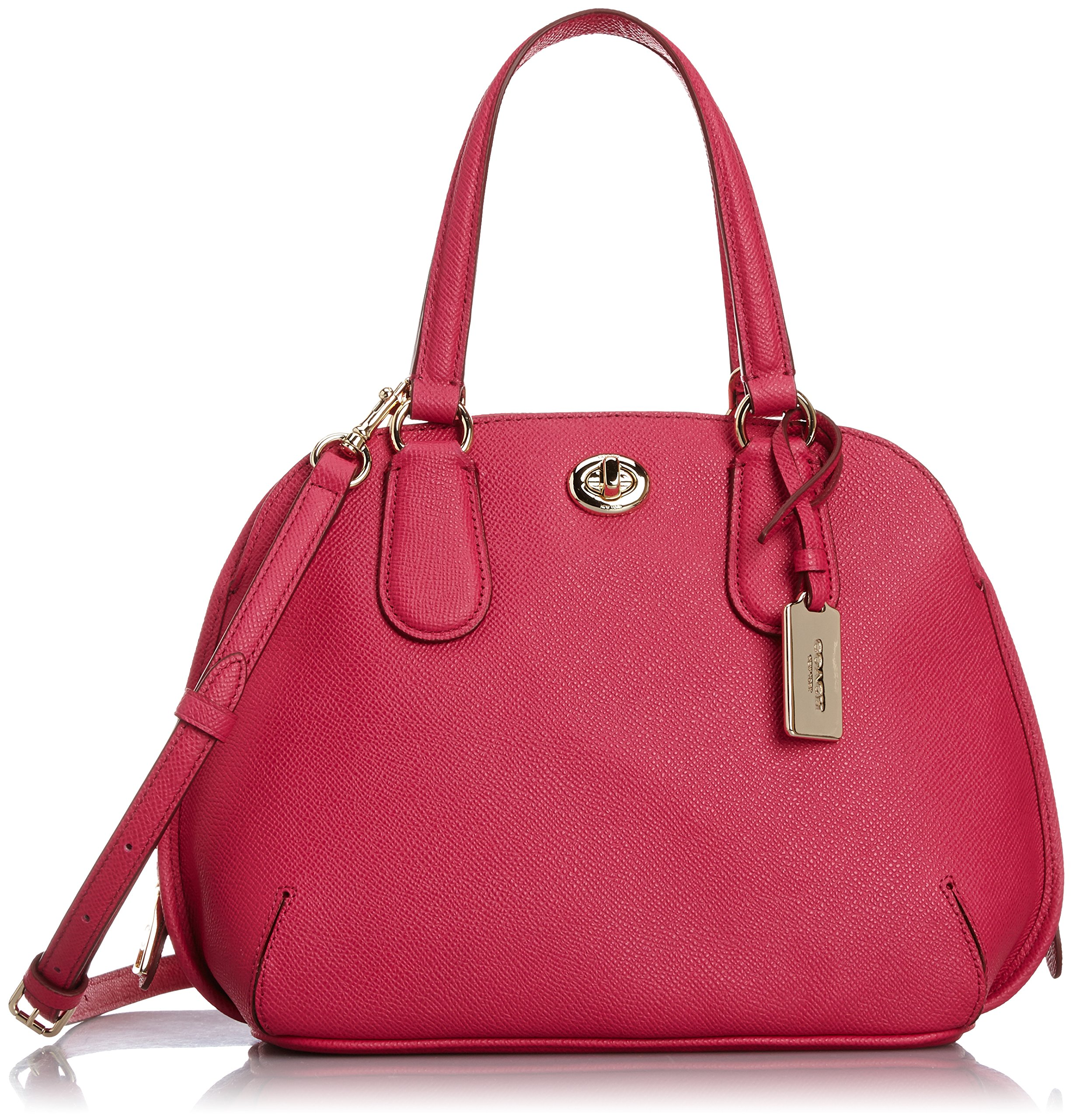 Coach Womens Leather Convertible Satchel Handbag Pink Small